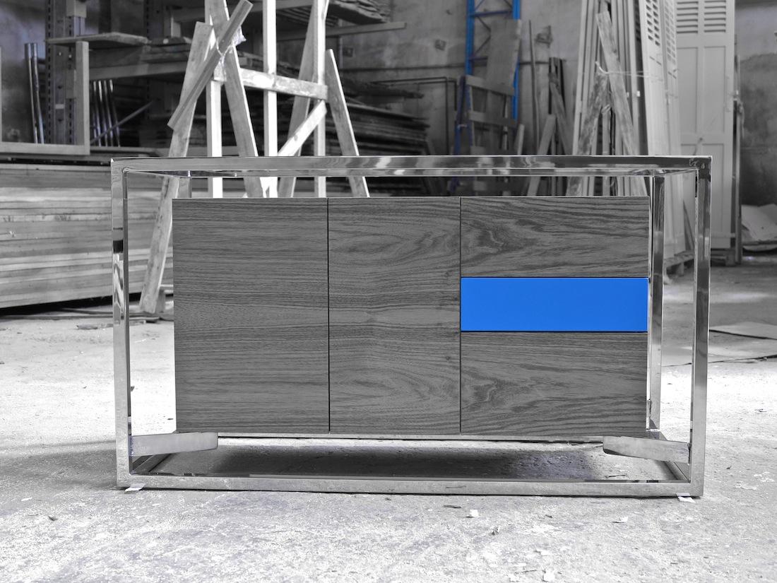 Cabinet Cab 01 Noyer/Inox 2 N/B