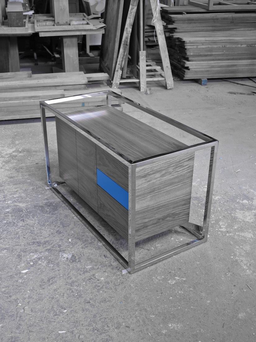 Cabinet Cab 01 Inox/Noyer 10 N/B