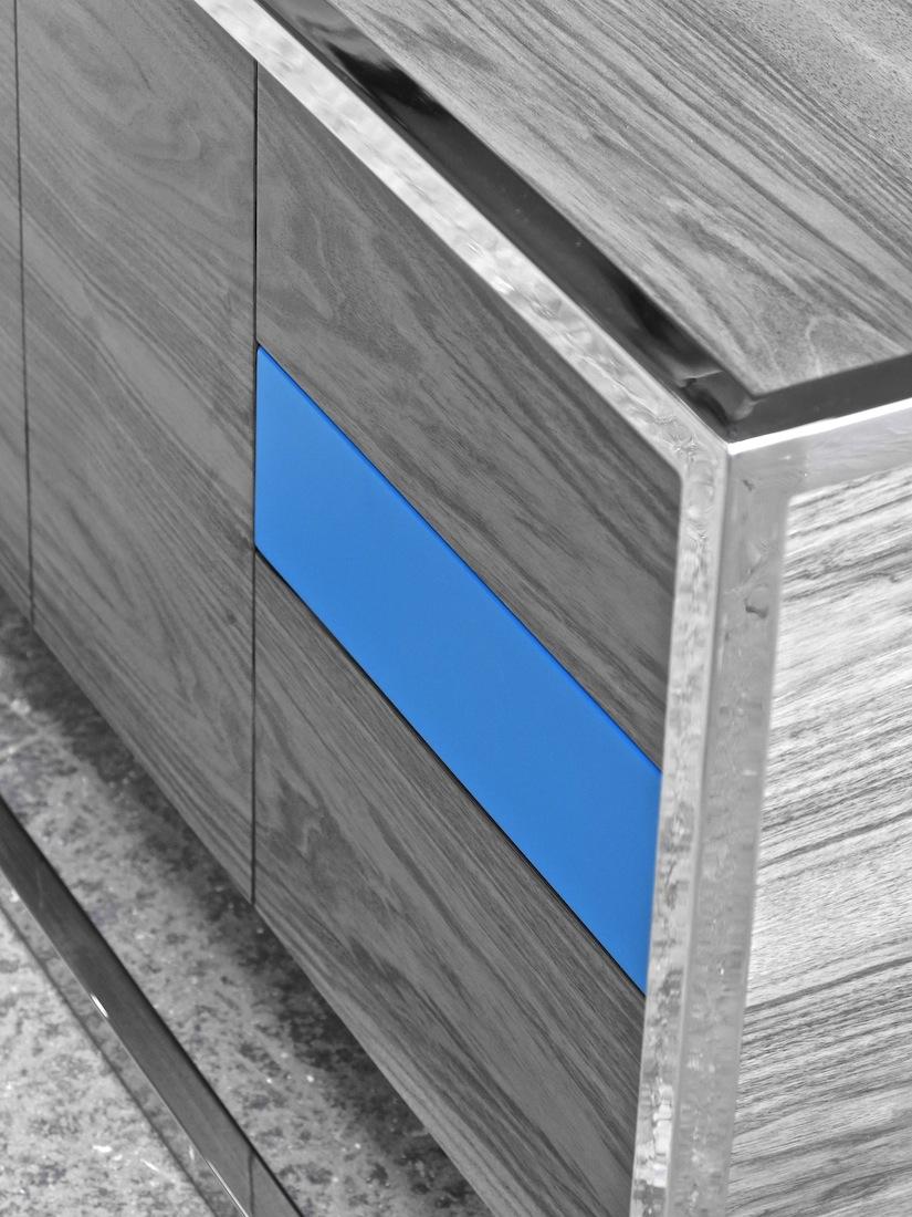 Cabinet Cab 01 Inox/Noyer 5 N/B