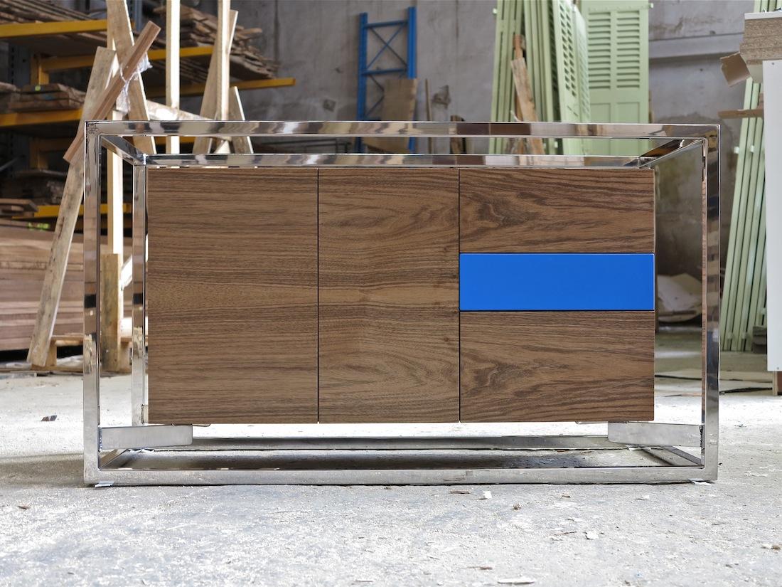 Cabinet Cab 01 Inox/Noyer